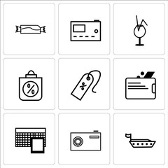 Set Of 9 simple editable icons such as Ship, Camera, Calculator, Wallet, Discount tag arrow, Discount Percent, cocktail, Microwave, Candy, can be used for mobile, web UI