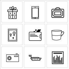Set Of 9 simple editable icons such as Statistics graph, Ship, Camera, Cup, Wallet, Wall poster or frame with smile, Bag, Phone, Gift, can be used for mobile, web UI