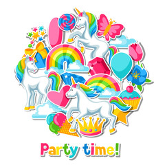 Party time. Card with unicorn and fantasy items