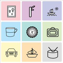 Set Of 9 simple editable icons such as Shopping bag, Ship, Car, Bag, Discount tag, Cup, Ship, Wall poster or frame with smile, can be used for mobile, web UI