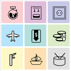 Set Of 9 simple editable icons such as Shopping bag, Ship, Money, Money down arrow, Airplane, Wall poster or frame with smile, Fuel canister, Discount, can be used for mobile, web UI