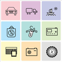 Set Of 9 simple editable icons such as Discount tag, Camera, Calculator, Microwave, Discount tag on shopping, Discount Percent, Ship, Shipping car, Car, can be used for mobile, web UI