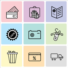 Set Of 9 simple editable icons such as Shipping car, Discount tag, Trash bin, Discount tag on shopping, Camera, New, Passport visa, Gift, present, Shopping card, can be used for mobile, web UI