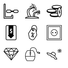 Set Of 9 simple editable icons such as Hat and sun, Mouse, Diamond, Wall poster or frame with smile, Price tag, Money down arrow, Money, Palma tree, Diver, can be used for mobile, web UI