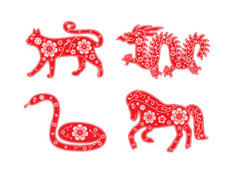 Cat, dragon, snake, horse. Chinese Horoscope animal set. Flower decorative element. Red and white colors