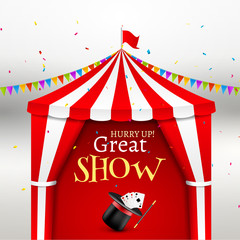 Circus show event poster. Circus tent vector illustration for carnival amusement with flag. Festival arena tent