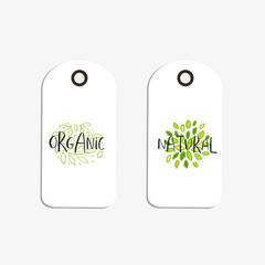 Vector eco badge or tag, bio green logo