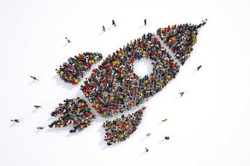 Fototapeta Many people together in a rocket shape. 3D Rendering