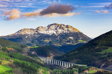 Typical Basque landscape, with its mountains and winter colors
