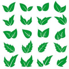 Green leaf icons set. Vector graphic illustration.