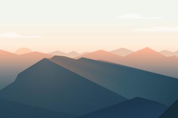 Mountains landscape. Sunset