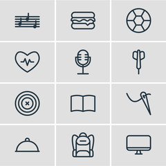 Vector illustration of 12 lifestyle icons line style. Editable set of picture, baseball, rocket and other icon elements.