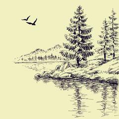 Lake shore or river bank wallpaper
