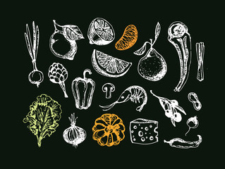 Healthy food - hand drawn doodles