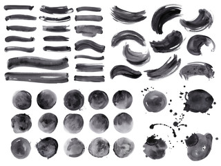 Big bundle of watercolor black brushstrokes, spots and streaks. Isolated on white background. High quality.