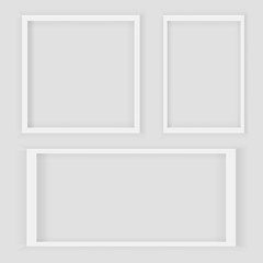 Realistic 3d Square and Rectangular White Blank Picture frame, hanging on a White Wall from the Front. Design Template for Mock Up.