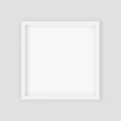 3D picture square frame design. Realistic Square White Blank Picture frame, hanging on a White Wall from the Front. Design Template for Mock Up. Vector illustration