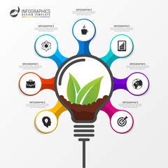 Green leaves in light bulb. Infographic design template