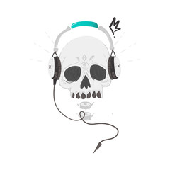 Human skull with tattoos wearing headphone, earphones, rock music, heavy metal icon, sign, symbol, vector illustration isolated on white background. Rock music icon with skull in headphones, earphones