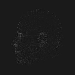 3D Grey Cyborg Man Point Mesh Face Vector Illustration on Black Background - Futuristic Particles Design