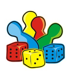 playing dice and figurines, vector icon, ludo