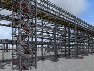 Shiny overpass for cables, gas and oil pipelines from columns, beams and ties. Architectural, engineering and construction hair dryer. 3D rendering.