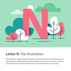 Decorative alphabet, letter N in floral background, park trees, simple font, education concept