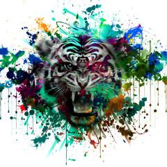 тигр абстрактные иллюстрации