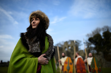 Caroline Sheerin looks on during the re-enactment of the first landing of Saint Patrick in Ireland at Inch Abbey in Downpatrick