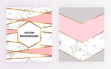 Set geometric designs posters with gold, cream, grey, pastel pink colors and marble texture stripesr background. Template for invitation, card, design, banner, wedding, baby shower