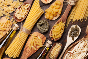 Various pasta and condiments