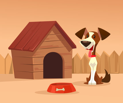 Happy smiling dog character guards house. Vector cartoon illustration
