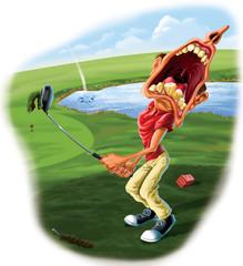 Golfer Hitting a Slice