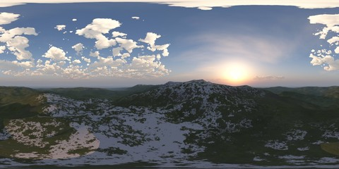 HDRI, environment map ,Round panorama, spherical panorama, equidistant projection, land under heaven