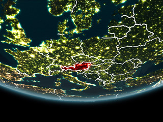 Austria on Earth from space at night