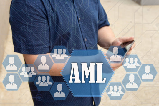Anti-money laundering. AML on the touch screen with a blur background of the businessman with the phone.The concept of AML, Anti-money laundering
