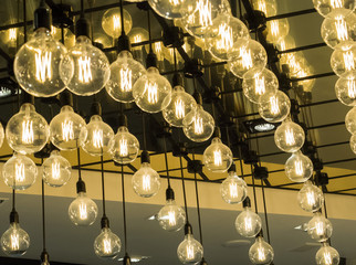 Symmetric sequence of bulb lights, ceiling decoration and art design of interior