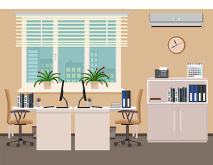 Office room interior design including two work places with air conditioner. Workplace organization in business office.