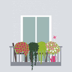 Flowers on the balcony. Vector illustration.