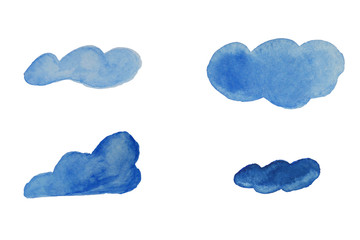 Clouds set watercolor for cartoon in blue color
