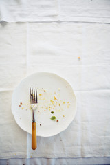 Empty messy plate with fork