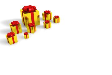 goldfarbige geschenkkartons mit roter schleife