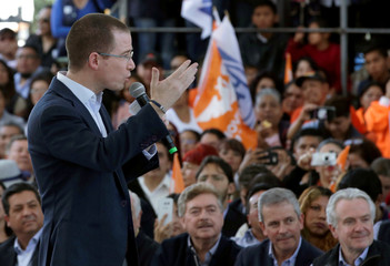 Anaya, presidential candidate for the National Action Party (PAN), gives a speech to his supporters after in Mexico City