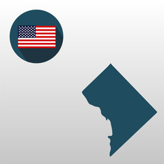 Columbia State Map, American flag. Icons on a white background