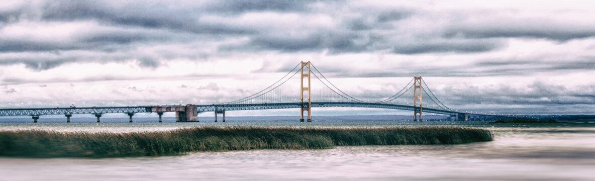 Mackinac Bridge Panorama. Iconic Symbol of Michigan.