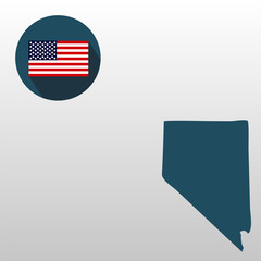 Map of the U.S. state of Nevada on a white background. American flag
