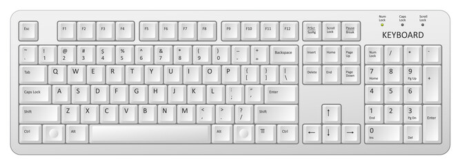 vector white pc keyboard Wall mural