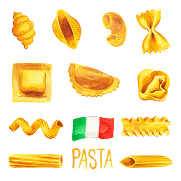 Italian pasta food set watercolor illustration painted with flag of Italy