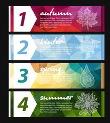Four seasons horizontal banners. Beautiful vector design.
