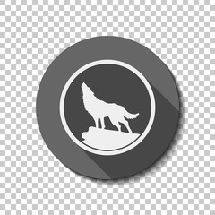 wolf. simple icon. White flat icon with long shadow in circle on transparent background